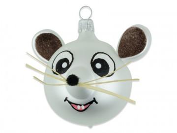 Skleněné zvířátko hlava myši, perleťová