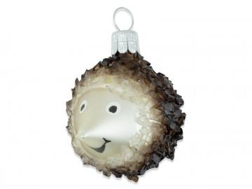 Skleněné zvířátko ježek, šampáňo