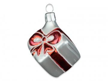 Vánoční ozdoba balíček, perleťová