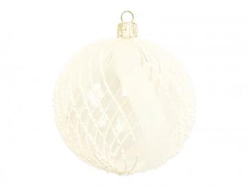 Vánoční koule čirá, perličky pruhy