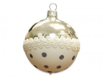 Vánoční koule stříbrná, krajka puntík