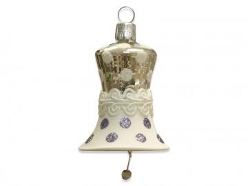 Vánoční zvonek stříbrný, krajka puntík