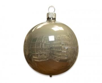 Vánoční koule šedá, porcelánový odlesk