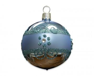 Vánoční koule bleděmodrá, proužek kvítečka