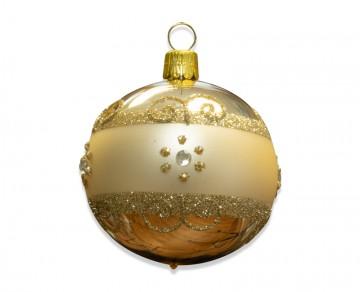 Vánoční koule šampáňo, proužek kvítečka