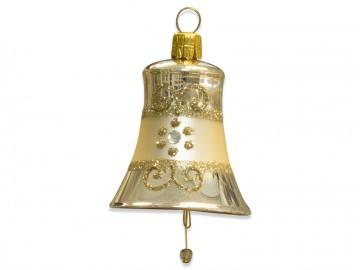 Vánoční zvonek šampáňo, proužek kvítečka