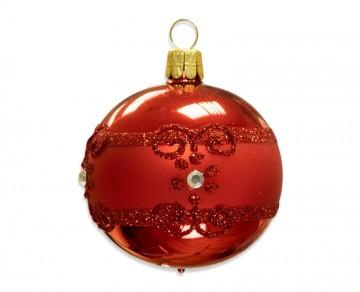 Vánoční koule červená, proužek kvítečka