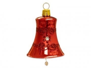 Vánoční zvonek červený, proužek kvítečka