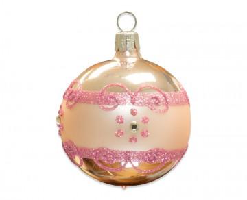 Vánoční koule pudrová, proužek kvítečka