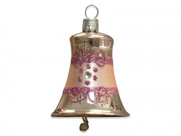 Vánoční zvonek pudrový, proužek kvítečka