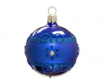 Vánoční koule modrá, proužek kvítečka