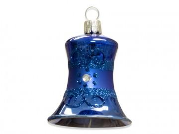 Vánoční zvonek modrý, proužek kvítečka