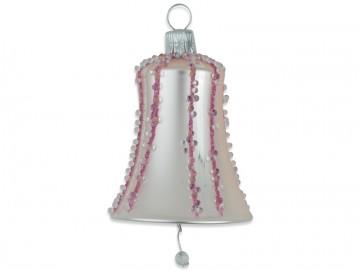 Vánoční zvonek pudrový, perličky