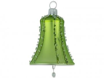 Vánoční zvonek olivový, perličky