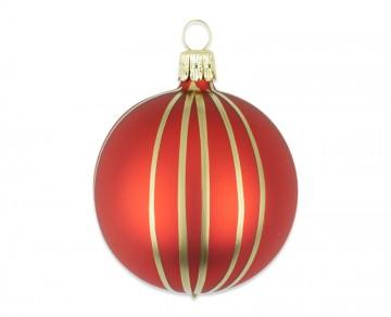 Vánoční koule červená, proužek