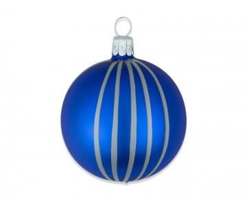 Vánoční koule modrá, proužek