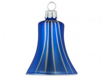 Vánoční zvonek modrý, proužek
