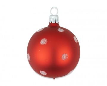 Vánoční koule červená, puntík