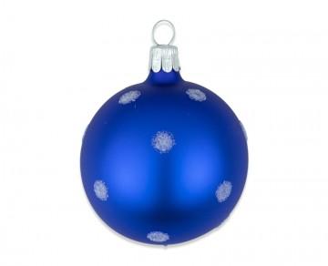 Vánoční koule modrá, puntík