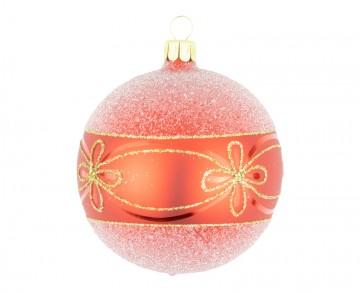 Vánoční koule červená, květ