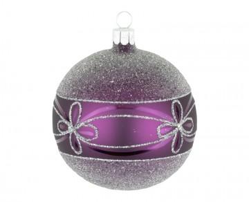 Vánoční koule fialová tmavá, květ
