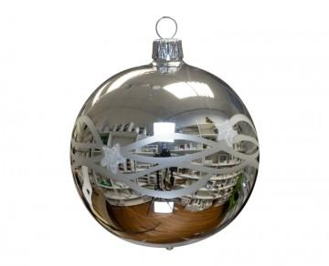 Vánoční koule stříbrná, vlny