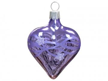 Vánoční srdce fialové světlé, vlny