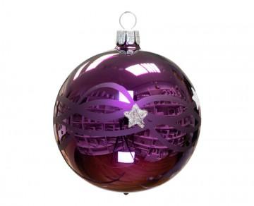 Vánoční koule fialová tmavá, vlny