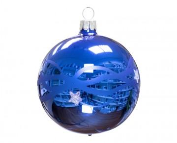 Vánoční koule modrá, vlny