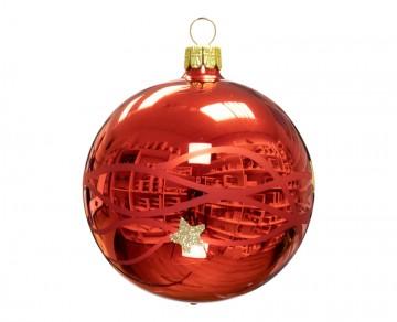 Vánoční koule červená, vlny