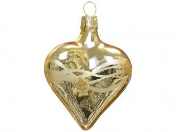 Vánoční srdce zlaté tmavé, vlny