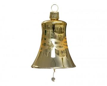 Vánoční zvonek zlatý tmavý, vlny