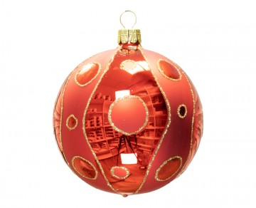 Vánoční koule červená, kolečka