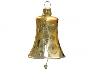 Vánoční zvonek zlatý tmavý, kolečka