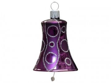 Vánoční zvonek fialový tmavý, kolečka