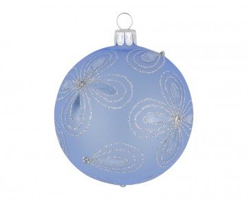Vánoční koule bleděmodrá, kytky