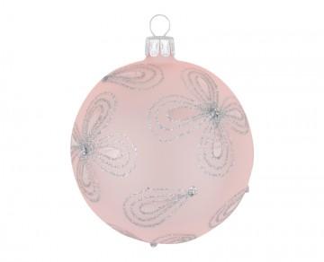 Vánoční koule pudrová, kytky