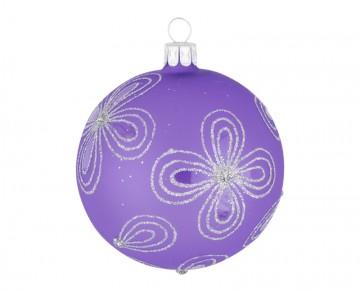 Vánoční koule fialová světlá, kytky