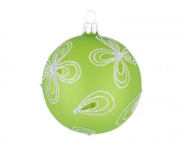 Vánoční koule olivová, kytky