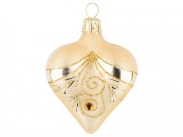 Vánoční srdce zlaté tmavé, závěs