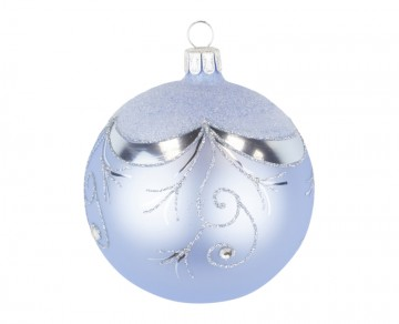 Vánoční koule bleděmodrá, závěs