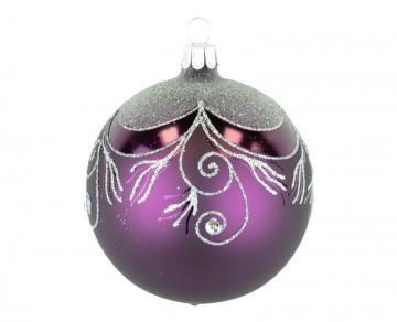 Vánoční koule fialová tmavá, závěs
