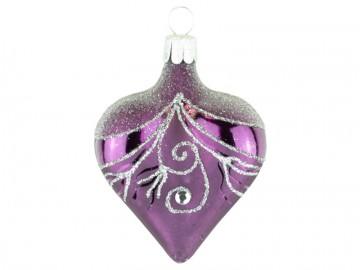 Vánoční srdce fialové tmavé, závěs