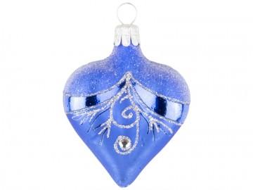 Vánoční srdce modré, závěs