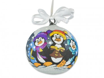 Skleněná koule tučňák, bílá