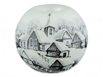 Skleněná koule na svíčku, bílá