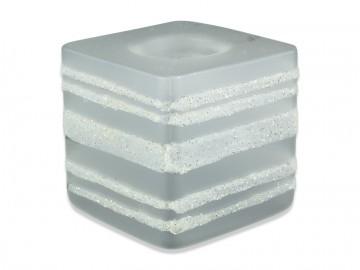 Skleněná krychle na svíčku, bílá
