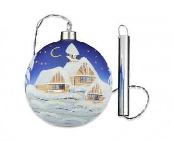Skleněná LED koule, modrá