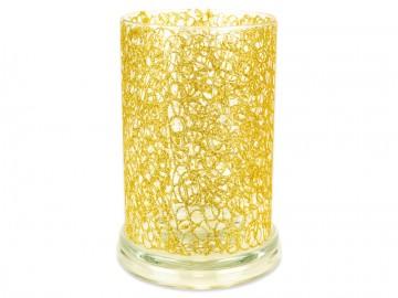 Skleněný válec na svíčku, zlatý
