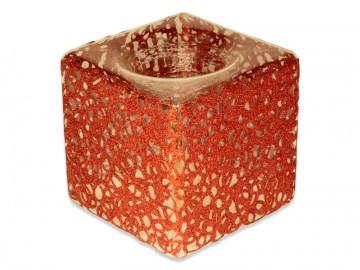Skleněná krychle na svíčku, červená